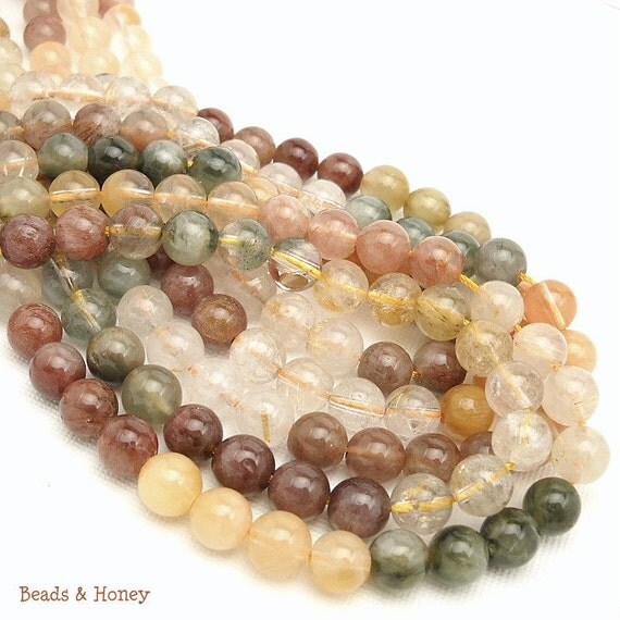 Multi Rutilated Quartz, Red/Green/Yellow, Round, Smooth, 8mm, Natural Gemstone Beads, Half Strand, 25pcs - ID 1026