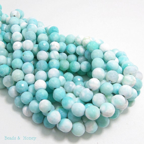 Agate Gemstone Beads, Sea Green-Blue and White, Fired, Round, Faceted, 8mm, Small, Half-Strand, 24pcs - ID 1064