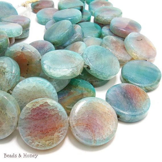 Aqua Fired Agate, Blue Green, Round Coin, Flat, Focal Pendant, Smooth, Gemstone Beads, 30mm, Large, 3pcs - ID 1066