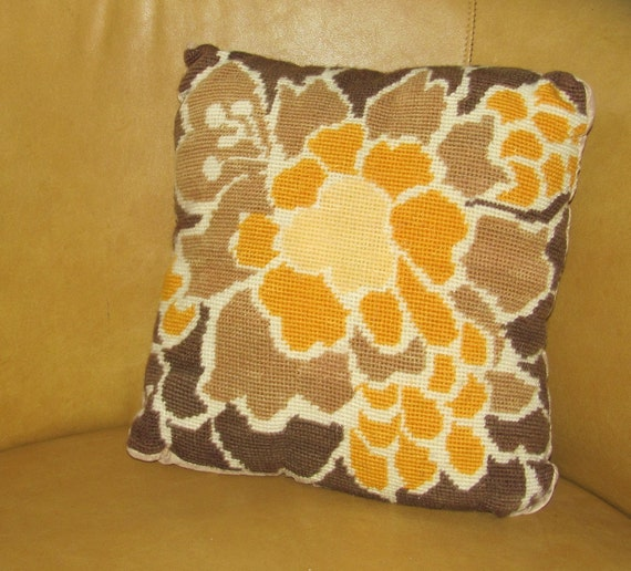 RETRO Needlepoint Throw Pillow