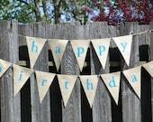 Happy Birthday Burlap Banner  ...  Birthday Banner  ...  Party Decoration