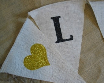 """Wedding Banner - """"LOVE"""" shown with yellow hearts can be any custom color"""
