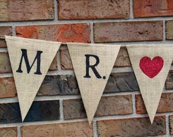 Mr. and Mrs. Banner  .....  Burlap Banner  ....  Wedding Banner ...  Photo prop ...  Mr. loves Mrs .  ..  wedding ... burlap ... banner