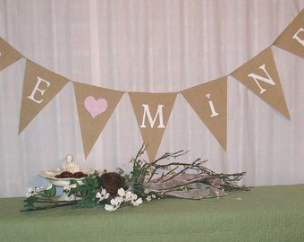 Be Mine Banner  Valentines Day Burlap Banner bunting