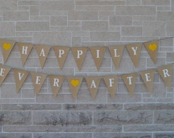 Happily Ever After  ....  burlap banner  ....  wedding  ...  engagement   ....  bunting