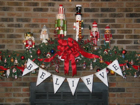 Believe Banner  ....   .Burlap Banner  ....  Holiday Decoration   ..   Christmas