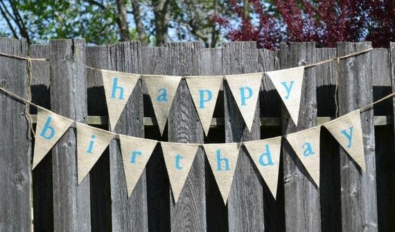 Happy Birthday Burlap Banner  ...  Birthday Banner  ...  Party Decoration