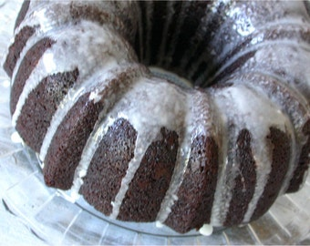 Vegan Chocolate Homemade Bundt Cake - For Bridal or Baby Shower - Birthday - Rehearsal Dinner - Anniversary- All Natural Vegan Cake - Gift