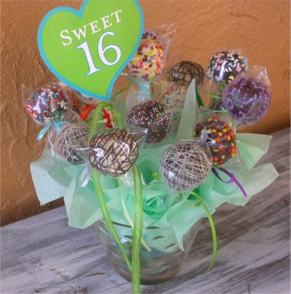 Sweet 16 Birthday Cake Pops Bouquet