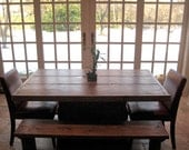5 foot salvaged wood dining room table with benches