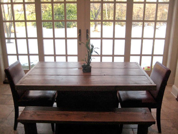 foot salvaged wood dining room table with benches