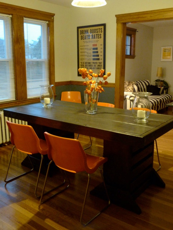 7 foot double pedestal table by modernrust on etsy for 7 foot dining room table