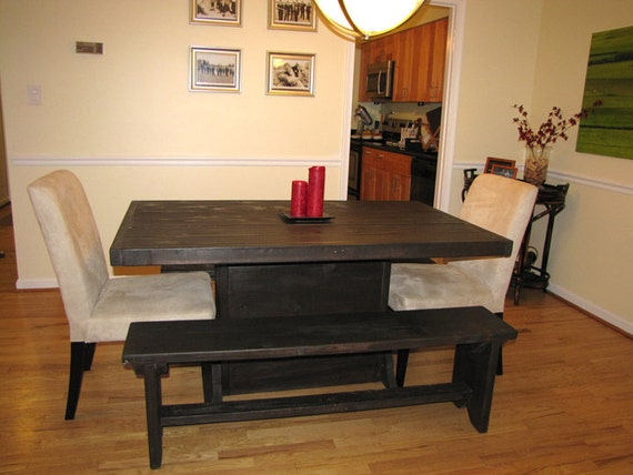 5 foot farmstyle dining room table and bench set