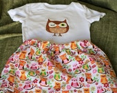 Owl skirt and shirt outfit, girls size 9 to 12 months