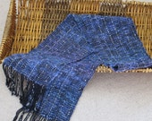 Handwoven Wool Scarf in Black and Blue