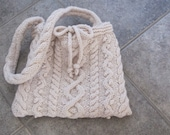 Wool Cable Knit Shoulder Bag in Winter White