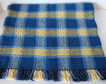 Plaid Baby Blanket Handwoven in Blue and Yellow Cotton and Bamboo
