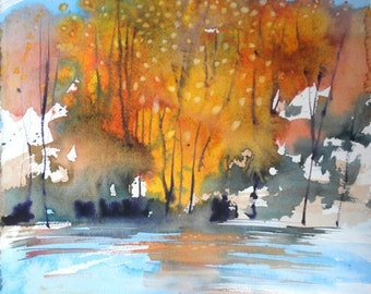 New England Fall-Scape No.9, limited edition of 50 fine art giclee prints from my original watercolor