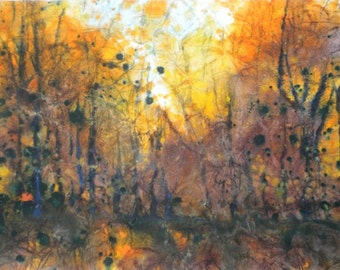 Batik Style/New England Fall-Scape M-No.1, limited edition of 50 fine art giclee prints from my original watercolor
