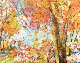 Batik Style/New England Fall-Scape No.30, limited edition of 50 fine art giclee prints