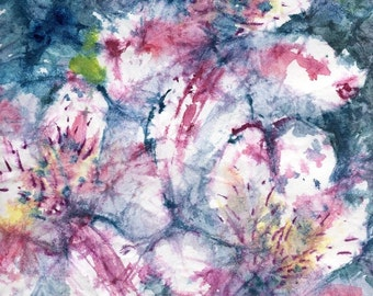 Batik Style No.37/Flowers, original watercolor