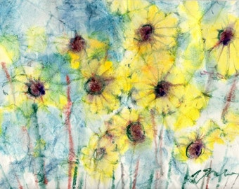 Batik Style No.45/Flowers, limited edition of 50 fine art giclee prints