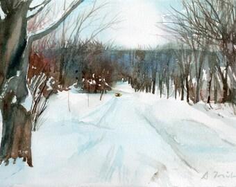 Worcester Sketchbook College Hill during December, limited edition of 50 fine art giclee prints