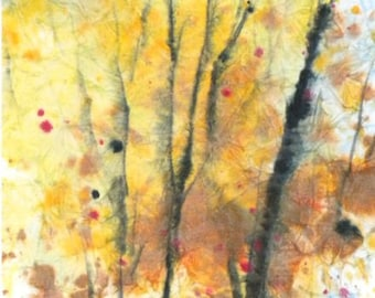 Batik Style/New England Fall-Scape M-No.7, limited edition of 50 fine art giclee prints from my original watercolor