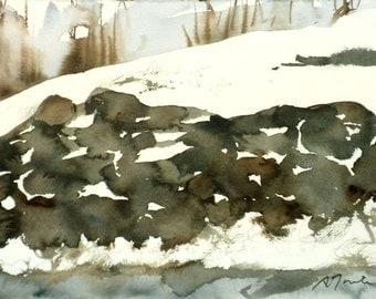 New England Winter-Scape No.38, original watercolor