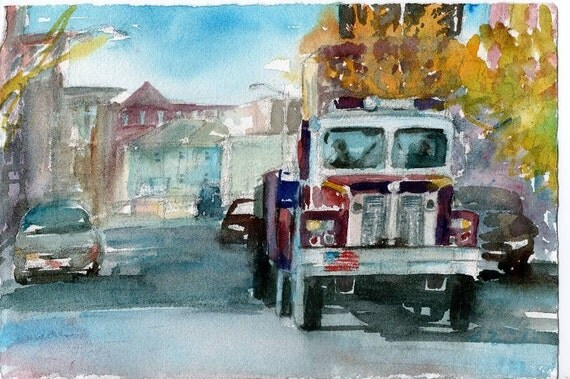 Worcester Sketchbook Fire Truck on Water St., limited edition of 50 fine art giclee prints
