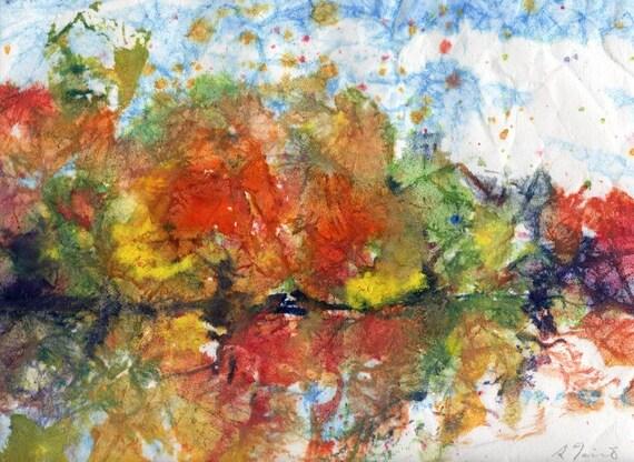 Batik Style/New England Fall-Scape No.4, original watercolor