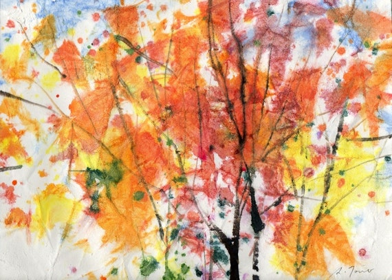 Batik Style/ New England Fall-Scape No.10, limited edition of 50 fine art giclee prints