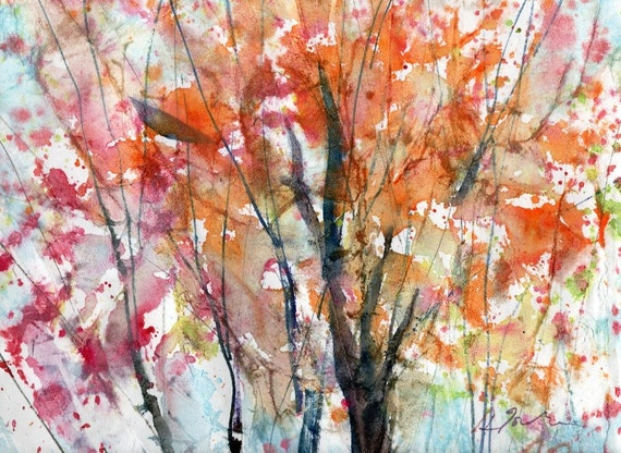 Batik Style/New England Fall-Scape No.3, limited edition of 50 fine art giclee prints