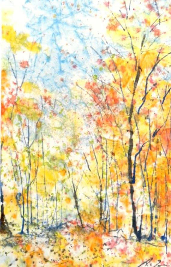 Batik Style/New England landscape M-No.4, limited edition of 50 fine art giclee prints