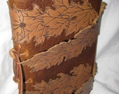 Wind Blown Leaves, Hand made soft bound Leather Journal, Vintage Inspired, in dark red brown and walnut colored accents