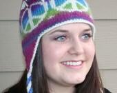 Peace Out Earflap Hat - Knitting Pattern PDF