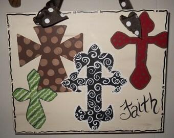 Hand Painted Crosses on 8 x 10 canvas  Faith