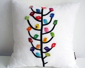 Sukan / Color Birds, Black Tree, White  Linen Pillow Cover - 14x14 inch