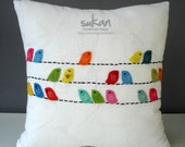 Birds Linen Pillow cover - 14x14