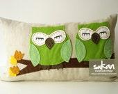 Sukan / Green Owls Beige Linen Pillow Cover - decorative throw pillows - 12x20