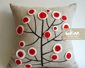 Sukan / Red White Tree Pen Pattern Raw Linen Pillow Cover - 14x14 inch