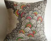 Sukan /  Original Pen Hand Drawing Pillow Cover - 14x14