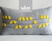 Sukan / Birds Linen Pillow Cover - 12x20 inch - Yellow, Gray, Black Color