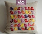 Sukan / Birds Raw Linen Pillow Cover - 14x14 inch -Yellow, Pink, Purple, Orange, Yellow,Red Color