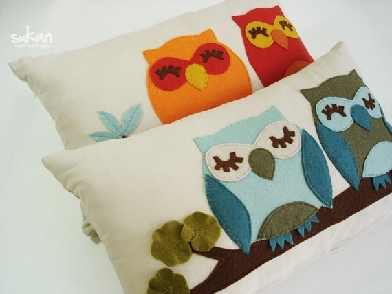 Cute Tumblr Pillows Etsy : Items similar to Turquoise-Green Owls-Linen Pillow cover on Etsy