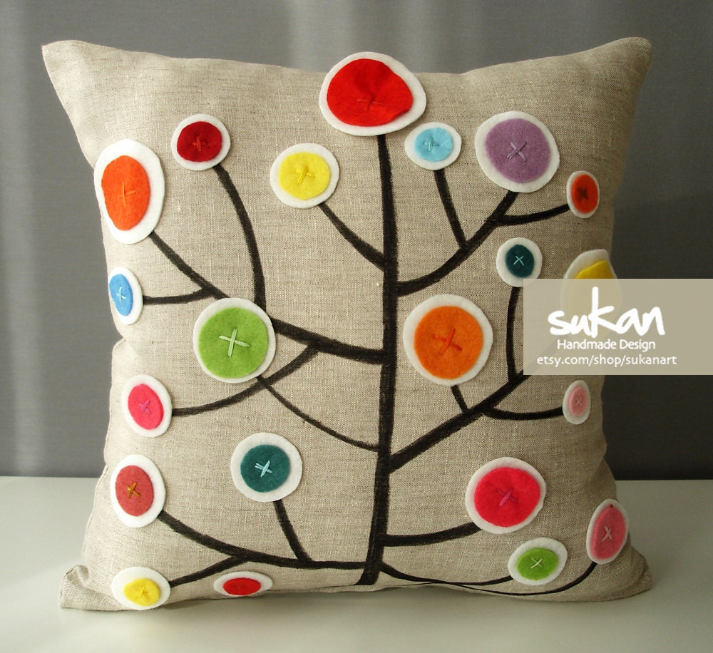 Pen Pattern Pillow Cover 14x14 by sukanart on Etsy