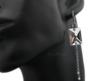 Sterling mirror earrings with Swarovski crystals