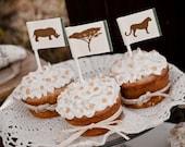 Vintage Safari Wedding Dessert or Cupcake Toppers {set of 12}