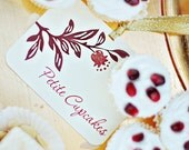 Pomegranate Dessert Tags - hand painted and embellished with glitter