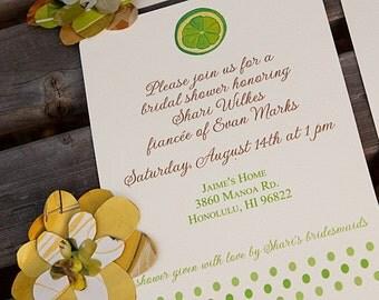 Printable Lime Bridal Shower Invitation, Lime Fruit Wedding Shower, Custom Invitation Template, Citrus Fruit Summer Party Invitation